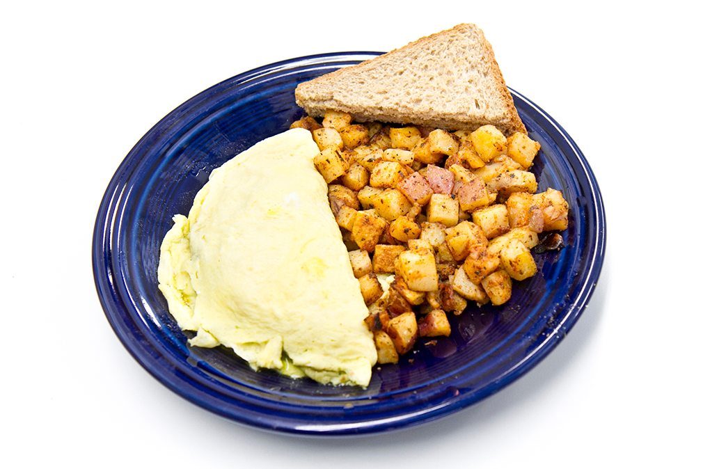 vegetarian breakfast eggs and potatos