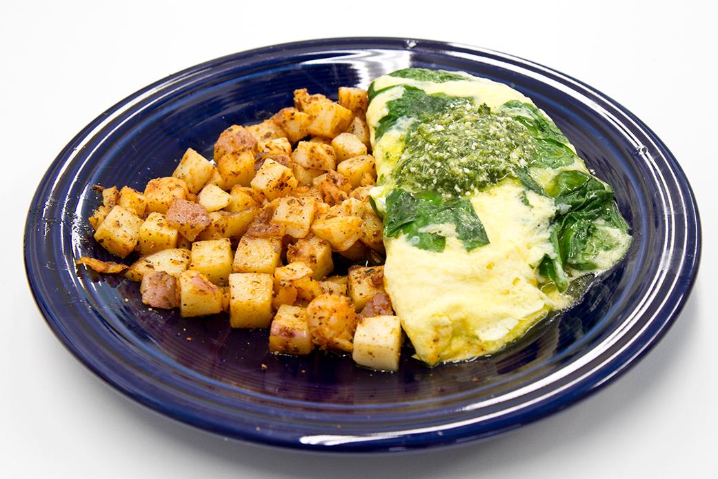 vegetarian breakfast Pesto Omlette